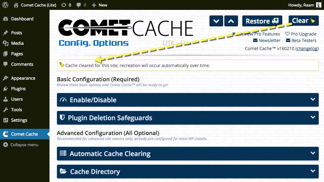 Comet Cache Config Option