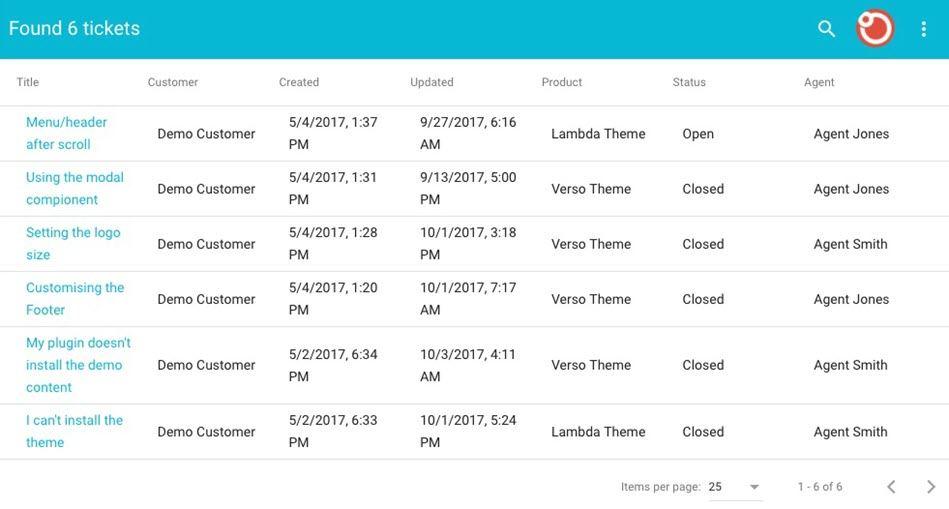 Customer Support Ticket Search Screenshot