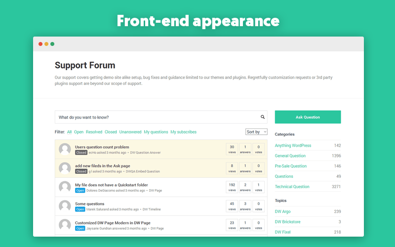 DW Question & Answer Front-End Appearance