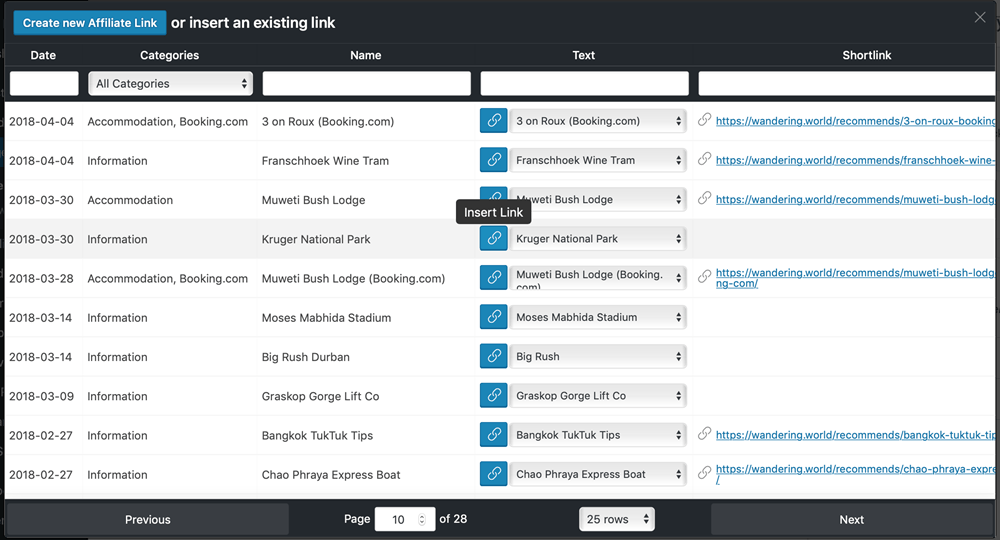 Easy Add Affiliate Link To Any Post Or Page By Clicking On The Icon