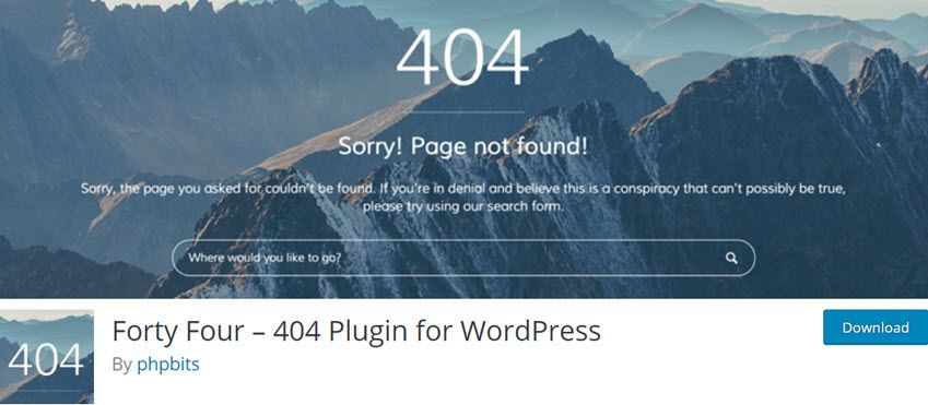 Forty Four – 404 Plugin for WordPress