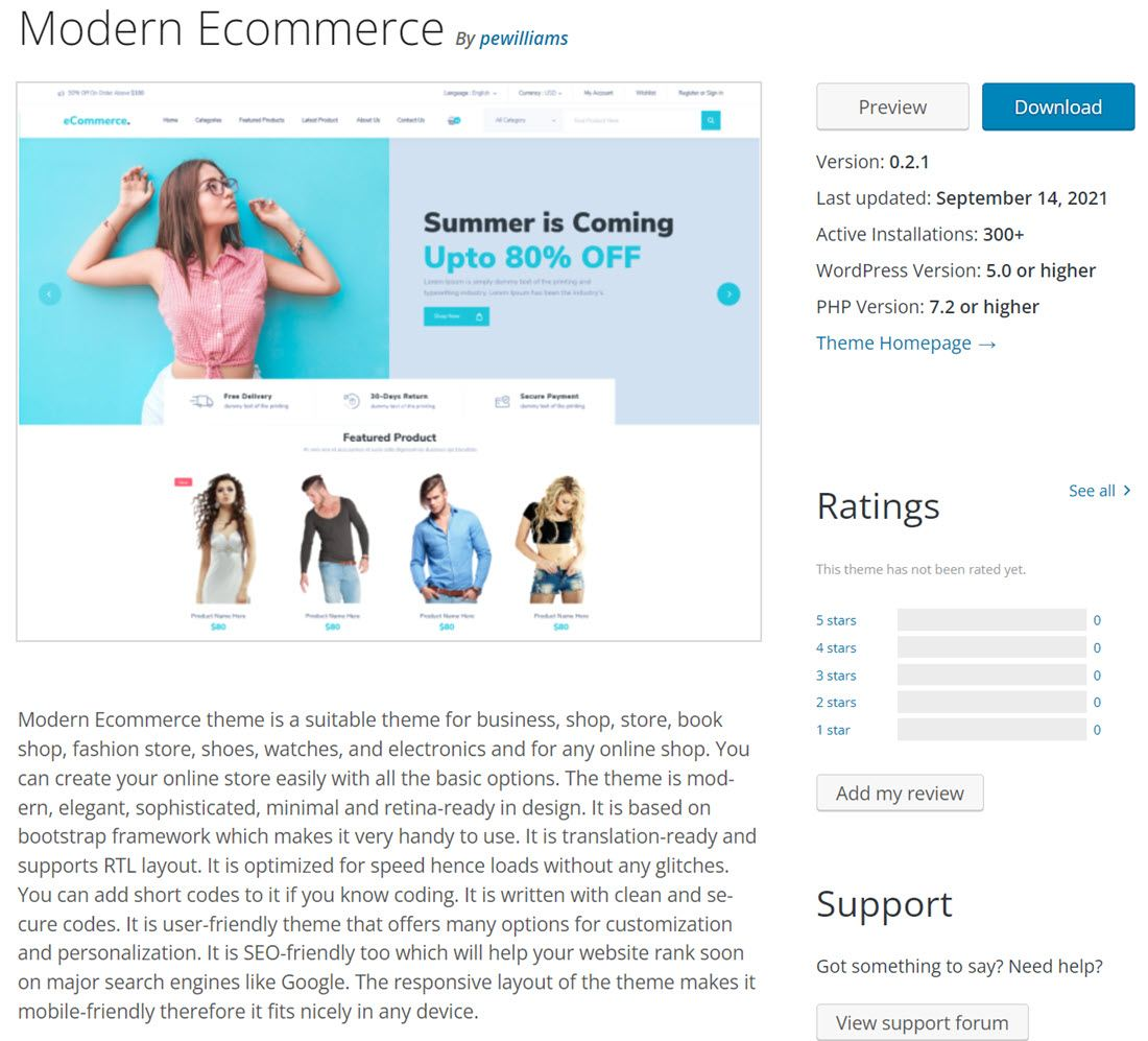 Free Modern Ecommerce Online Store Theme Demo
