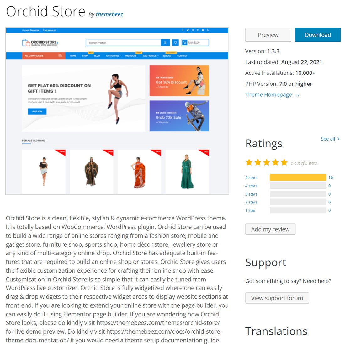 Free Orchid Woocommerce Store Theme preview