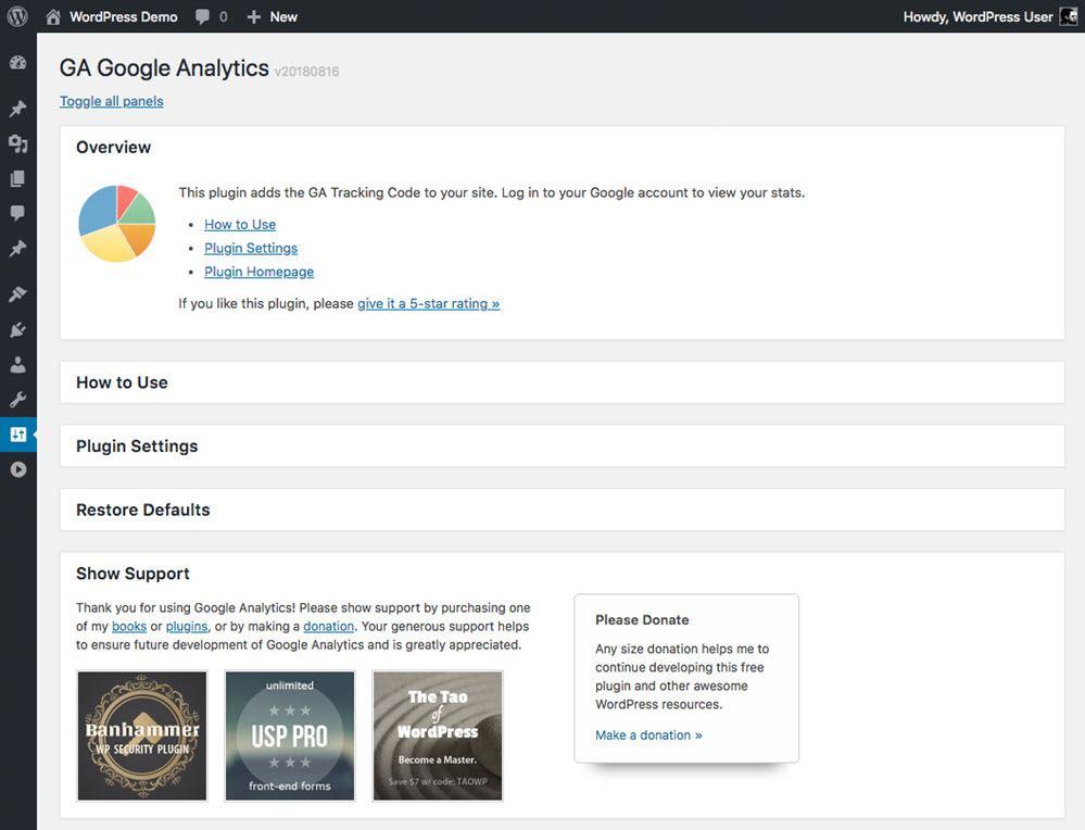 GA Google Analytics Overview Plugin Setting