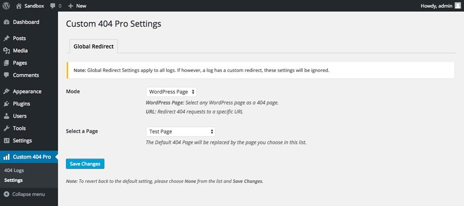 Global Redirect Custom 404 Pro Setting