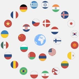 Globe With Language Flag