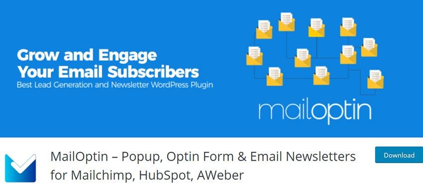 MailOptin – Popup, Optin Form & Email Newsletters for Mailchimp, HubSpot, AWeber