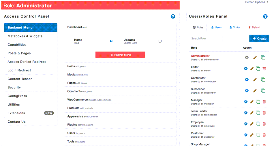 Manage Administrator Access To backend Menu