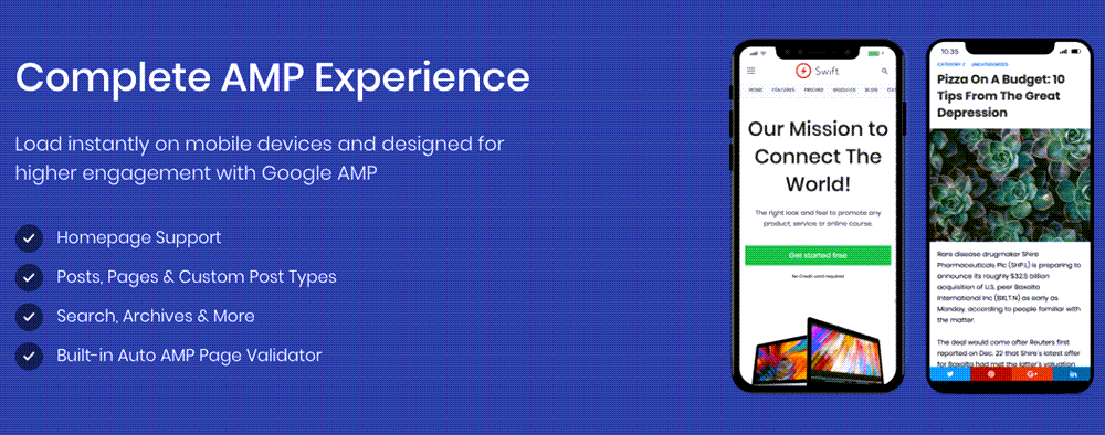 Mobile Responsive AMP Homepage Example