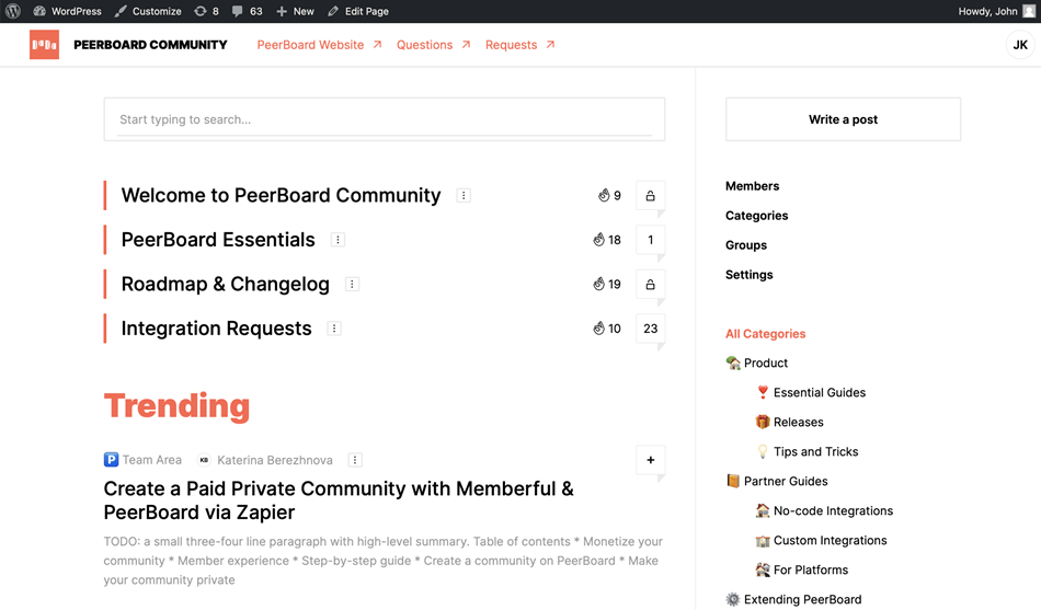 PeerBoard Community Forum Example