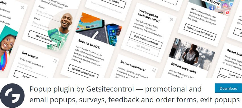 Popup plugin by Getsitecontrol - promotional and email popups, surveys, feedback and order forms, exit popups