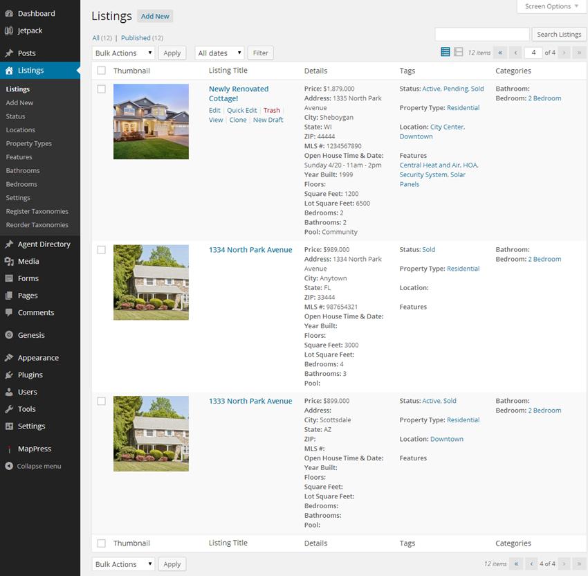 Real Estate Listing Admin Screen