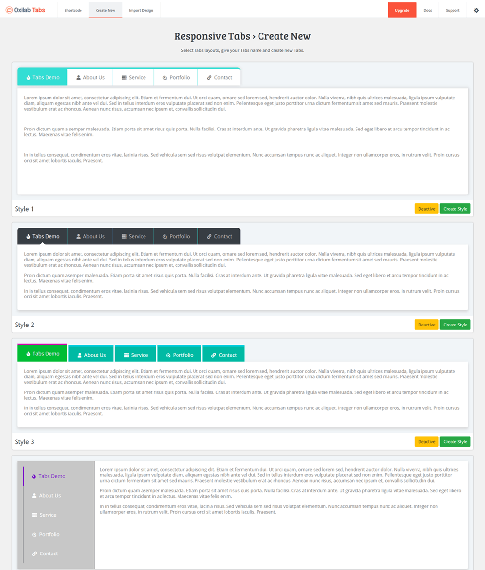 Responsive Tabs Template Selection Page