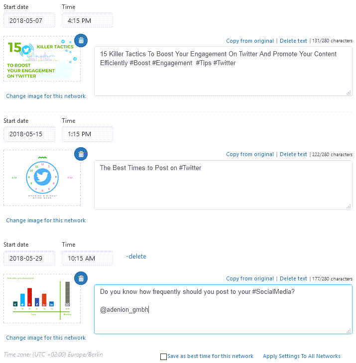 Schedule Uniquely tailored Post For Different Dates And Times To Maximize Engagement