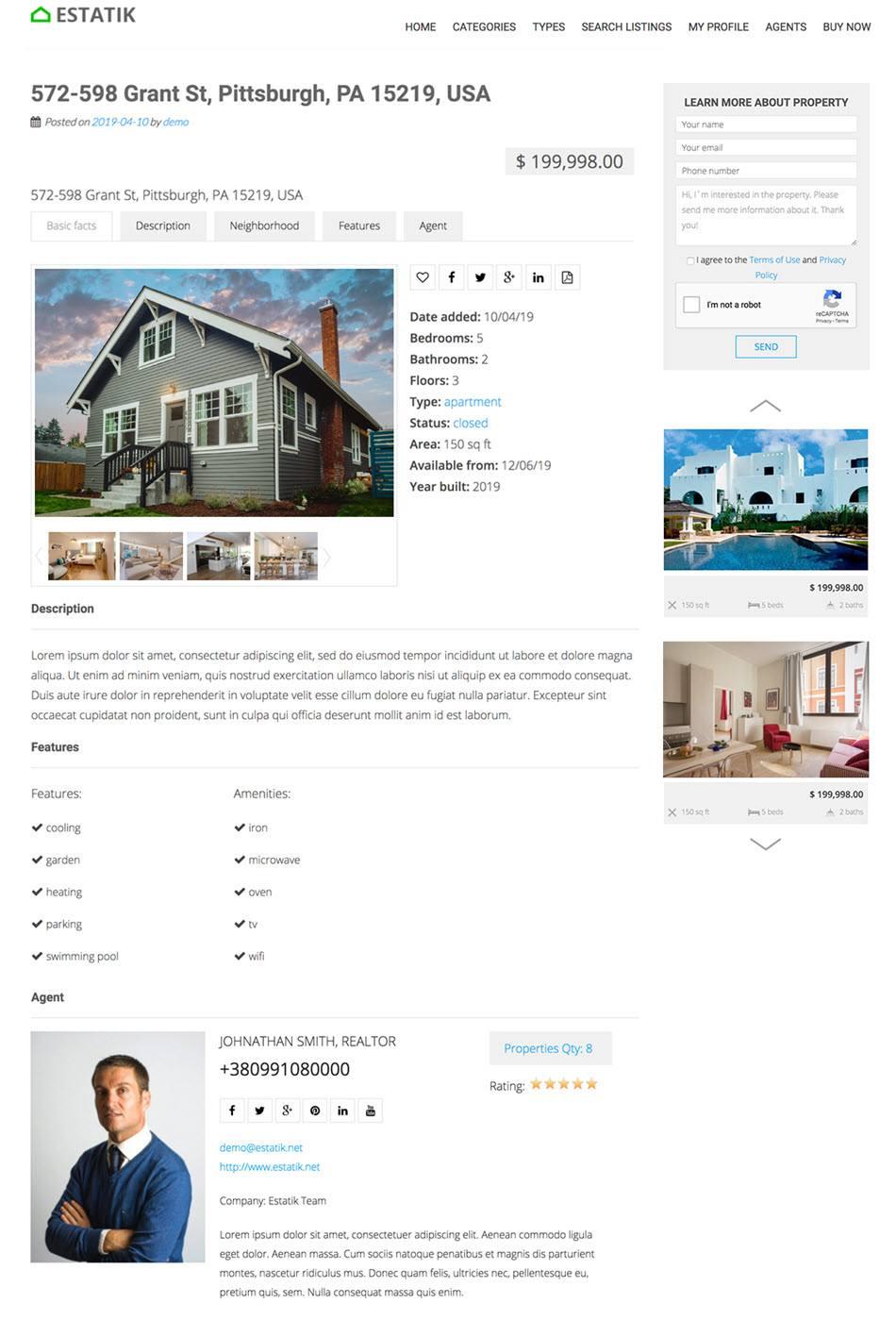 Single Property Page Screenshot