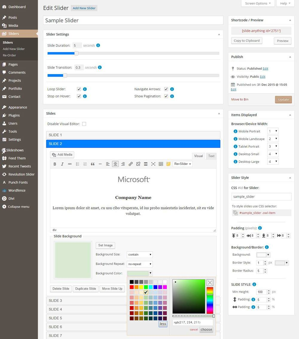 Slide Anything Edit Sample Slider Dashboard