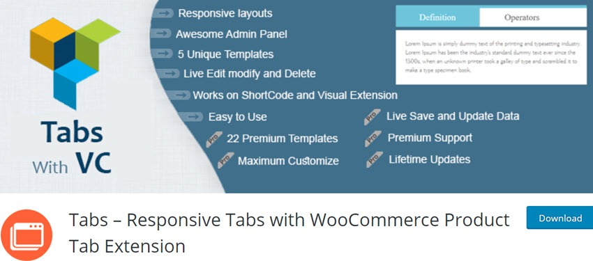 Tabs – Responsive Tabs with WooCommerce Product Tab Extension
