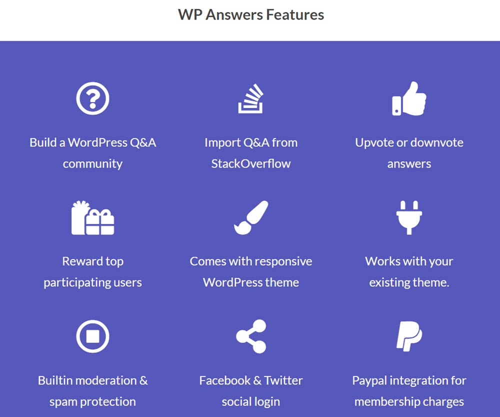 WP Answers Features