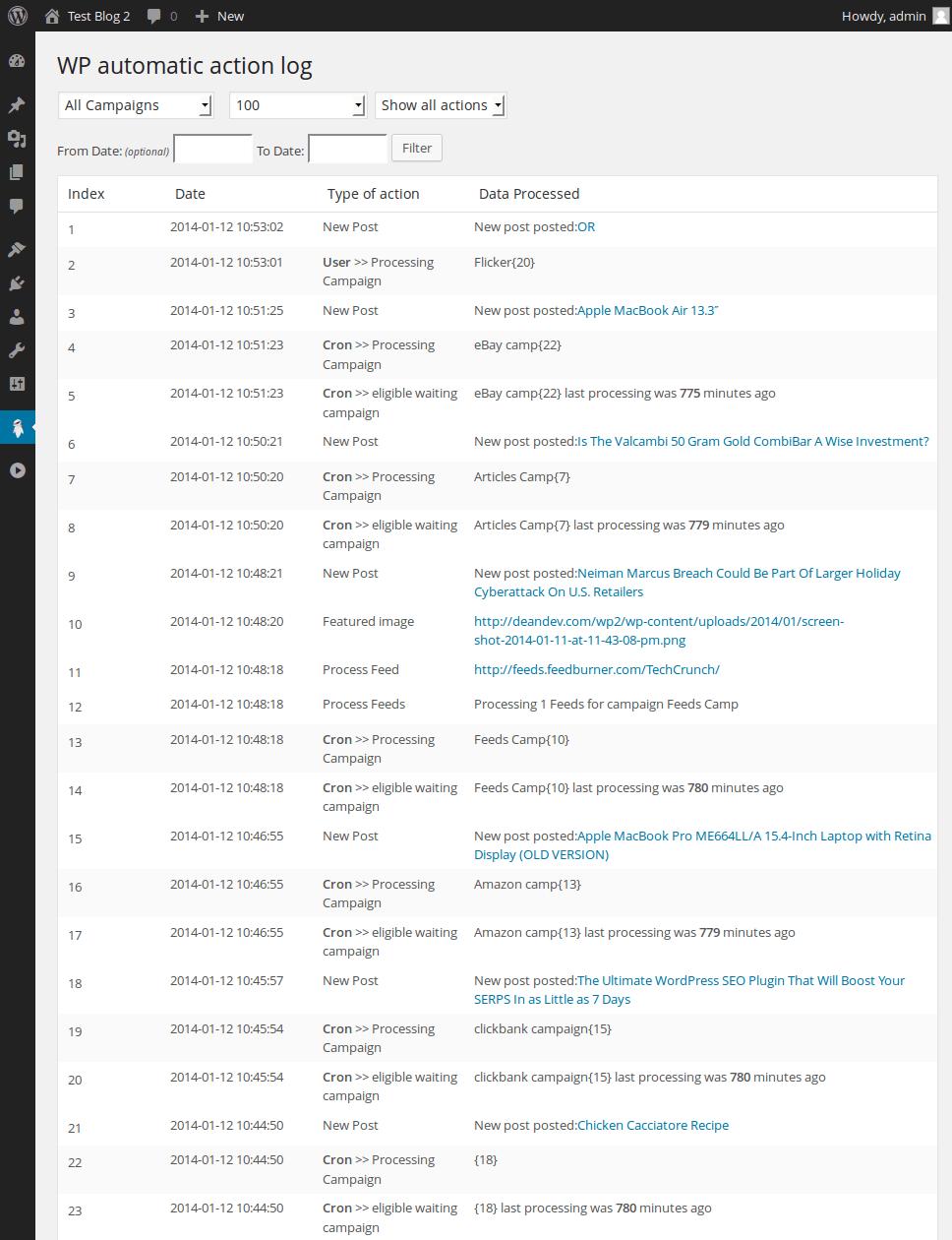 WP Automatic action log Screenshot