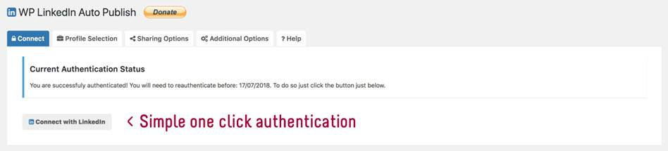 WP Linkdln AutonPublish Simple One Click Authentication