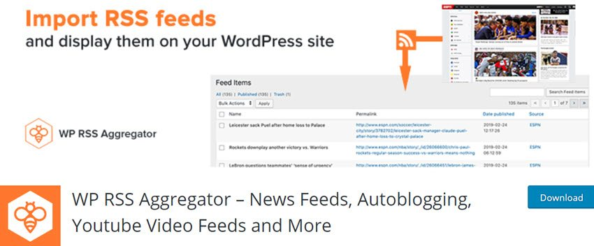 WP RSS Aggregator – News Feeds, Autoblogging, Youtube Video Feeds and More