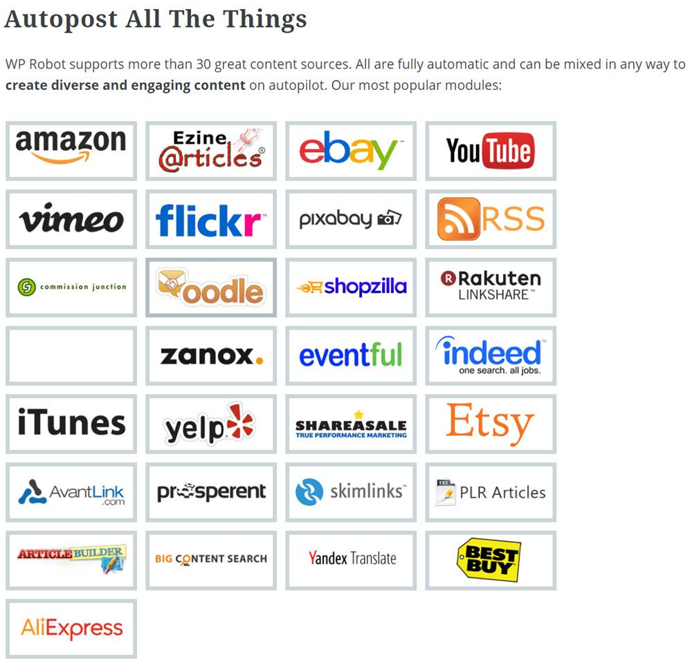 WP Robot supports more than 30 great content sources Demo