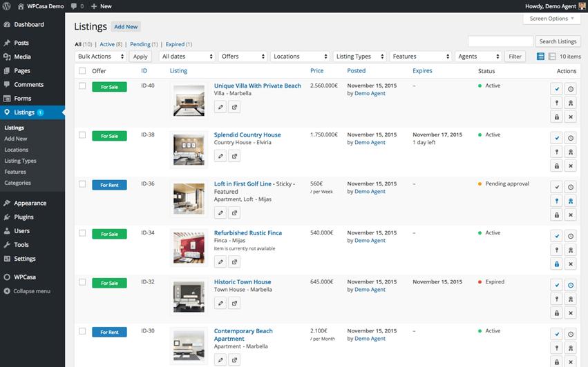 WPCasa Listings Screenshot