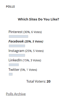 Which Site Do You Like Poll Result Screen Shot