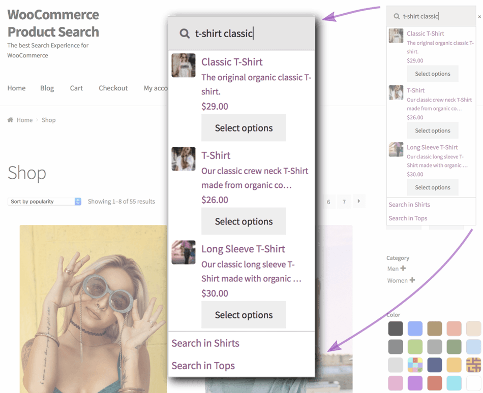 Woocommerce Live product search and field search results Example