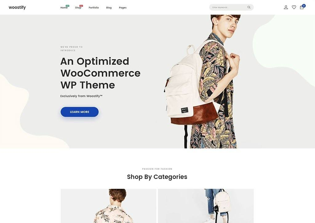 Woostify home Page Preview