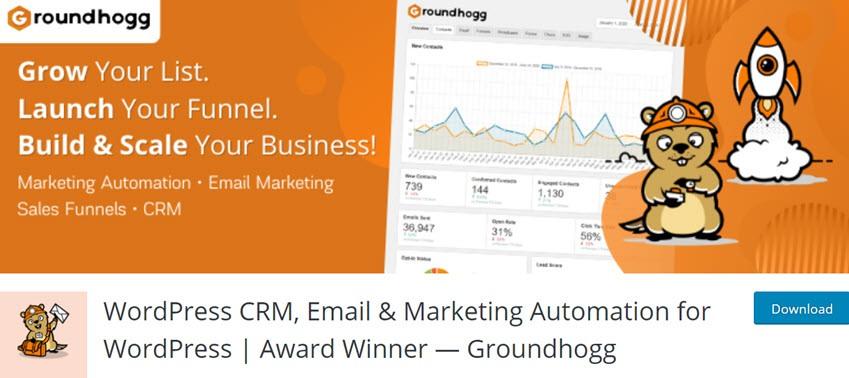 WordPress CRM, Email & Marketing Automation for WordPress Award Winner Groundhogg