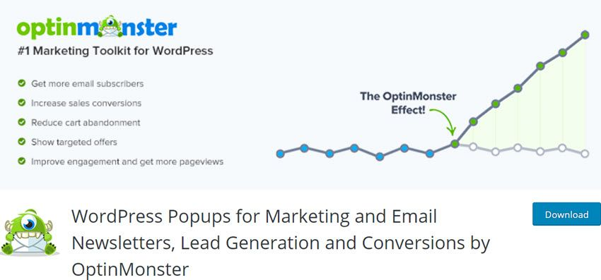 WordPress Popups for Marketing and Email Newsletters, Lead Generation and Conversions by OptinMonster
