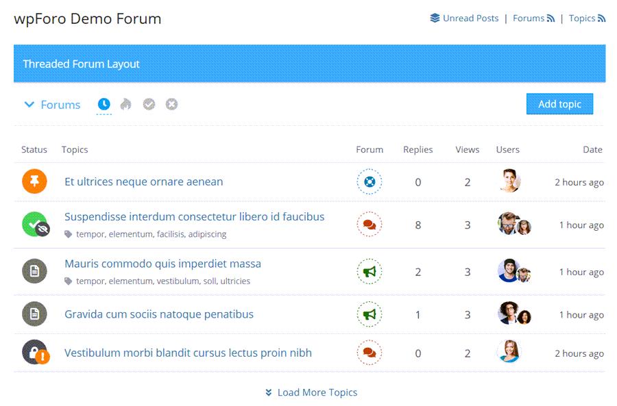 WpForm Demo Forum Threads