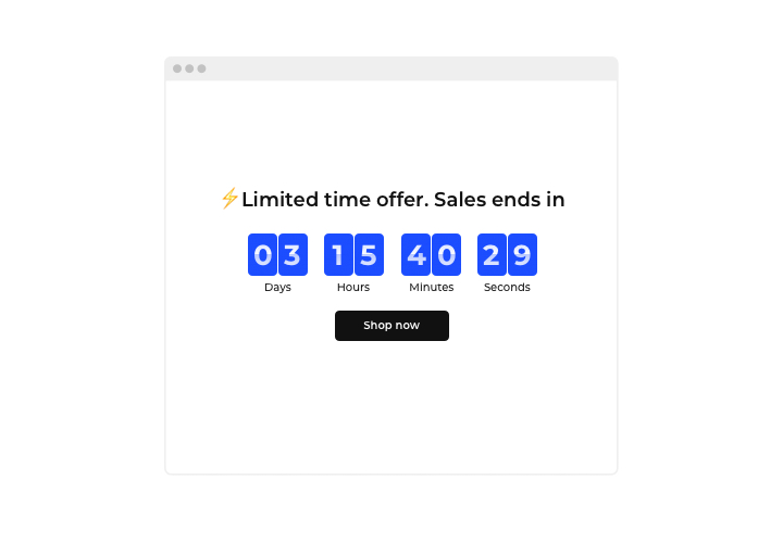 countdown Limited Time Offer Sales timer screenshot