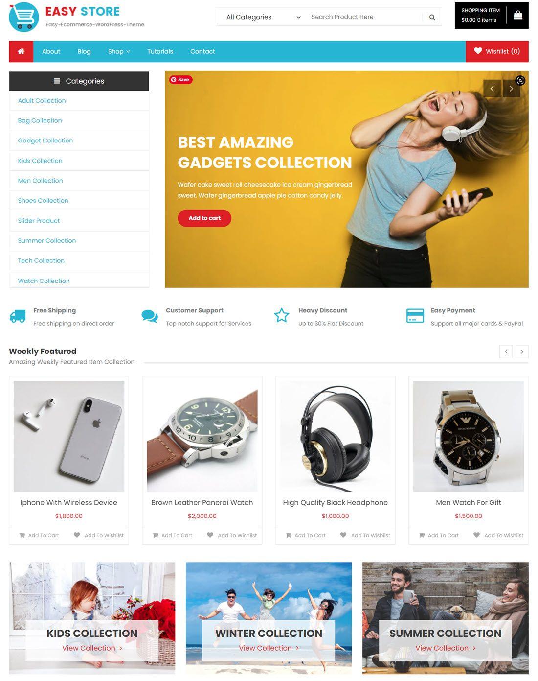 easy store Woocommerce WordPress Free Theme Template