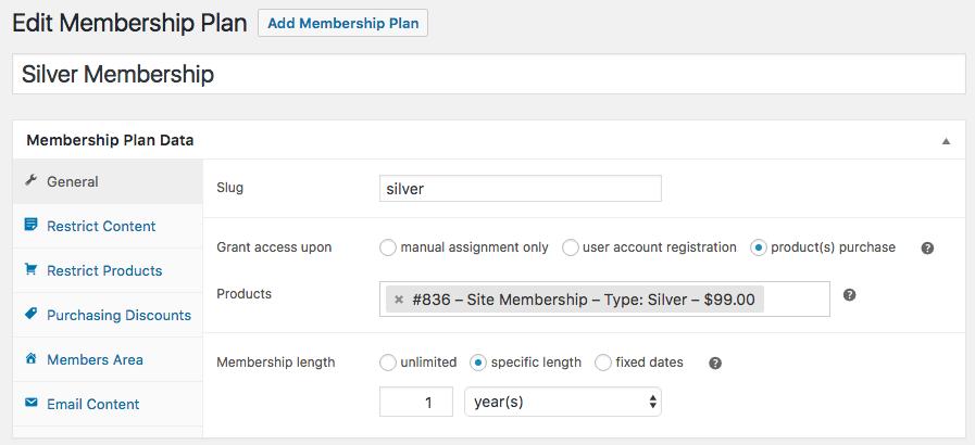 woocommerce Add memberships general plan data Setting
