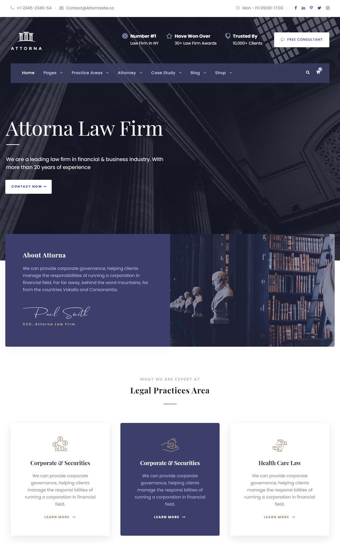 Attorna Lawyer & Attorney WordPress Theme Example