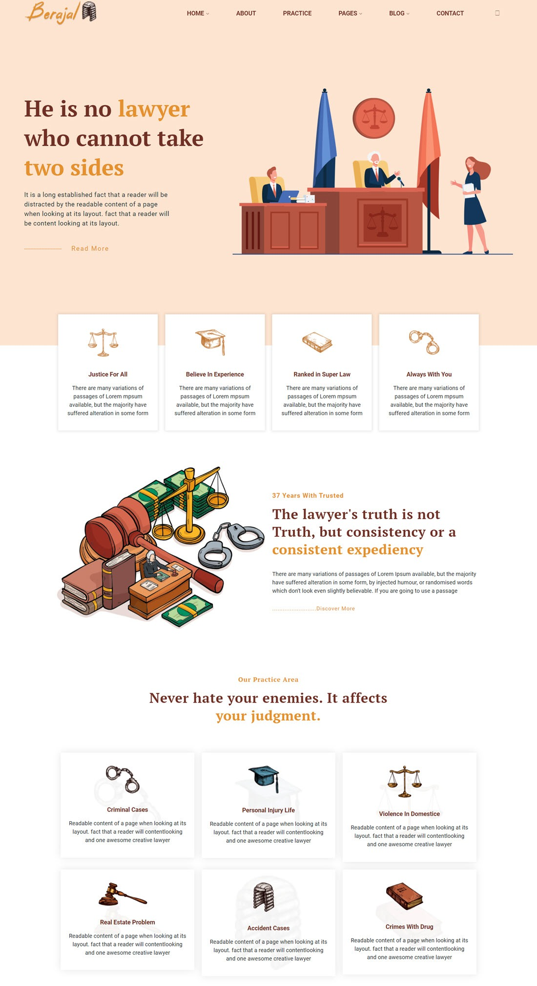 Beraja l- Lawyer Attorney & Law Firm WordPress Theme Example