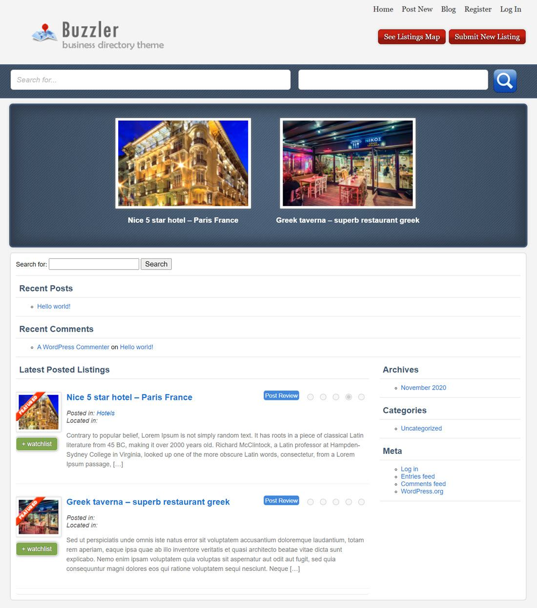 Buzzler Business Directory Theme Screenshot