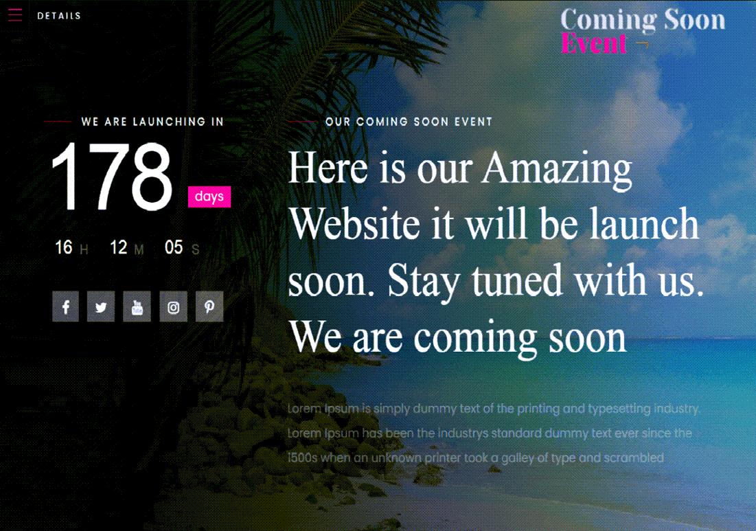 Coming Soon Event Theme For WordPress ScreenShot
