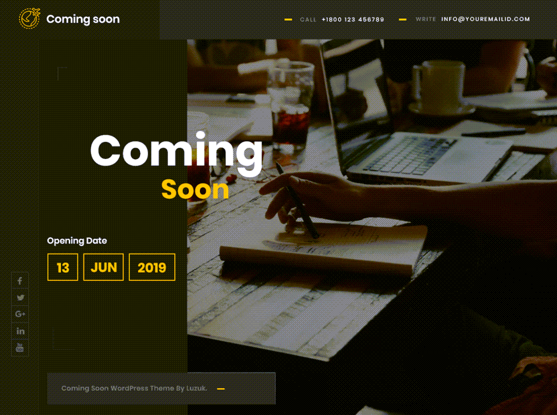 Coming Soon Lite Theme For WordPress Example