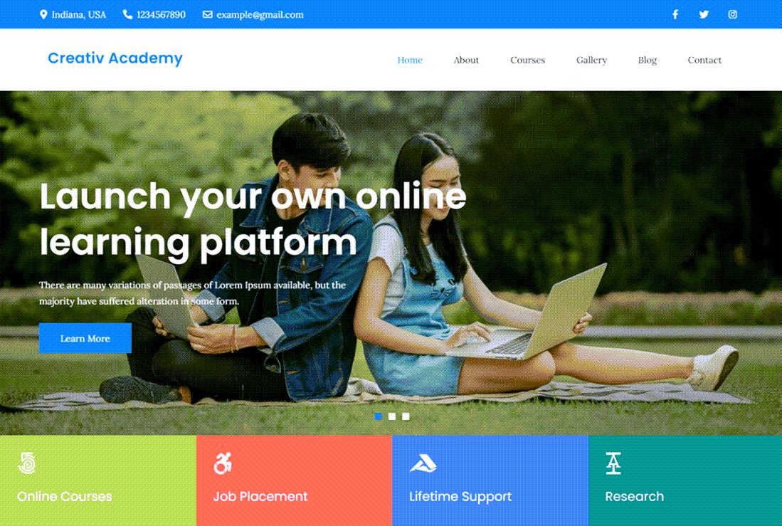 Creativ Academy WordPress Education Site Demo