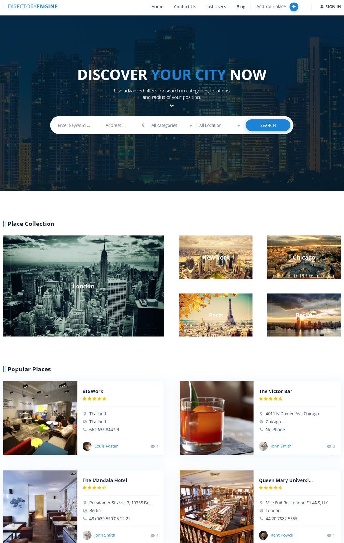 DirectoryEngine Theme For WordPress ScreenShot