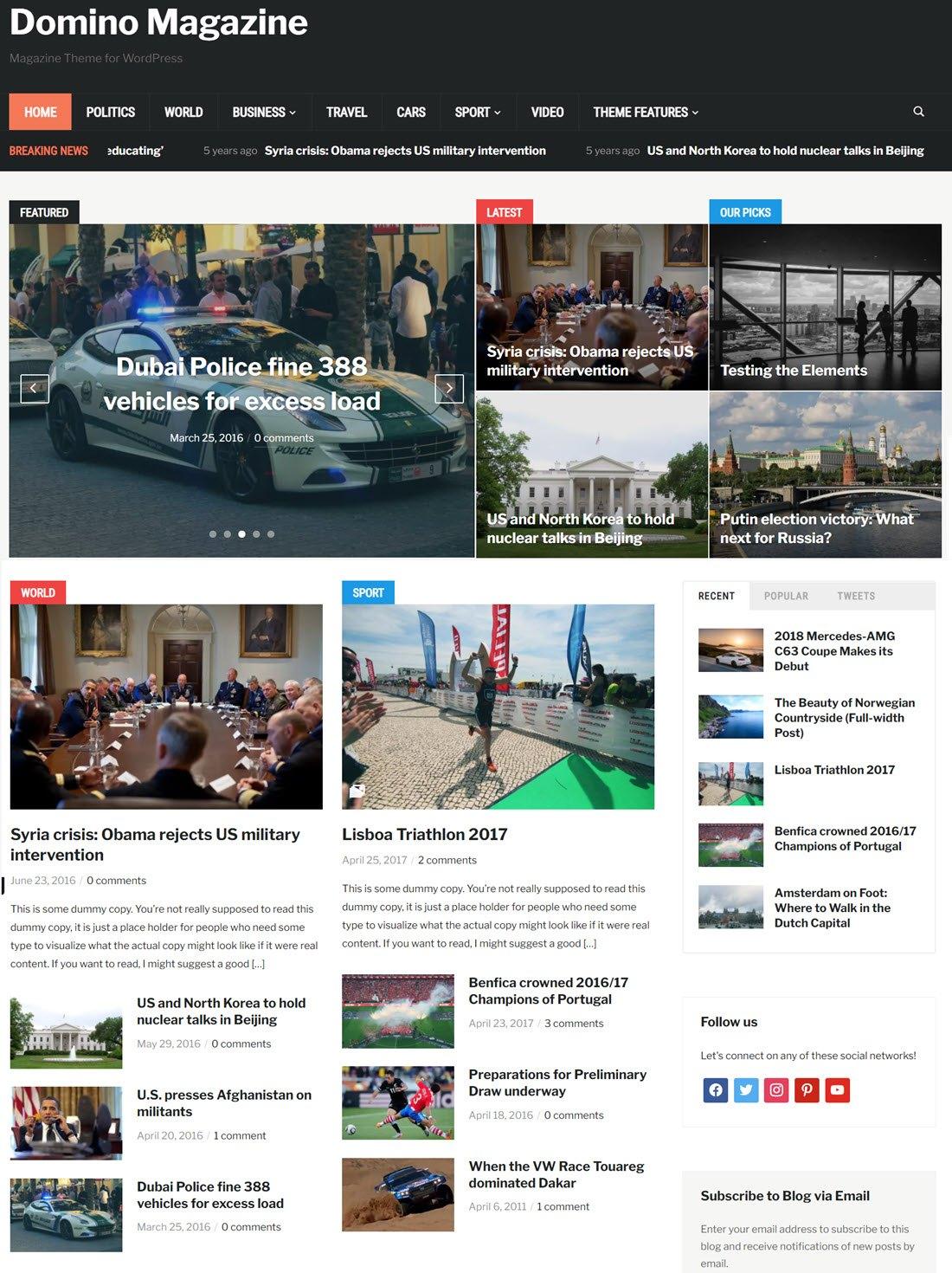 Domino Magazine Theme For WordPress Screenshot