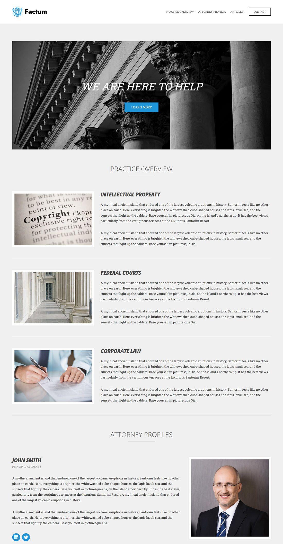 Factum Lawyer WordPress Theme Example
