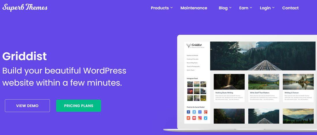 Griddist Theme For WordPress Screenshot