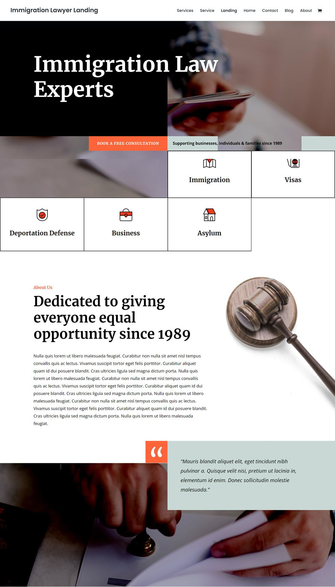 Immigration Law Lawyer Theme For Wardress Screenshot
