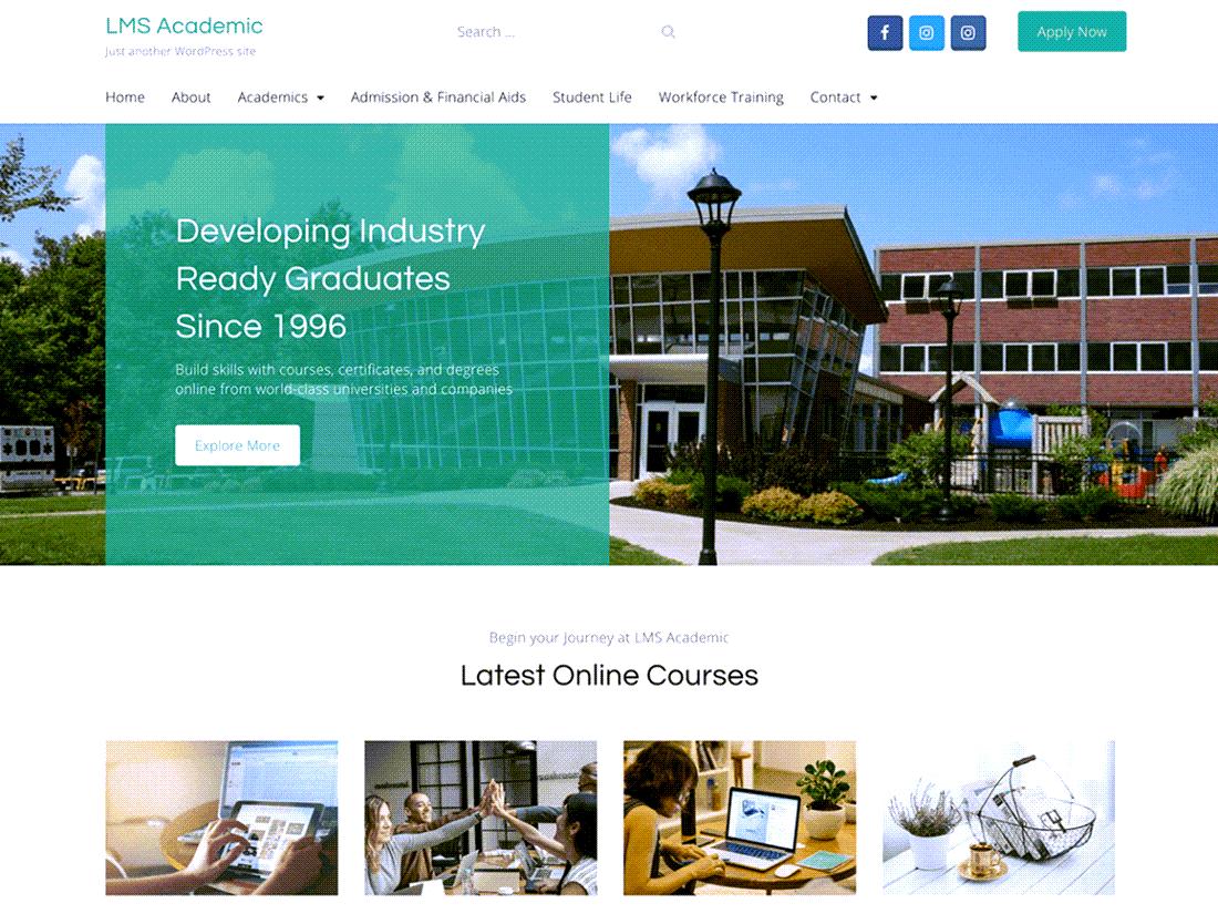 LMS Academic Learning management WordPress Theme ScreenShot
