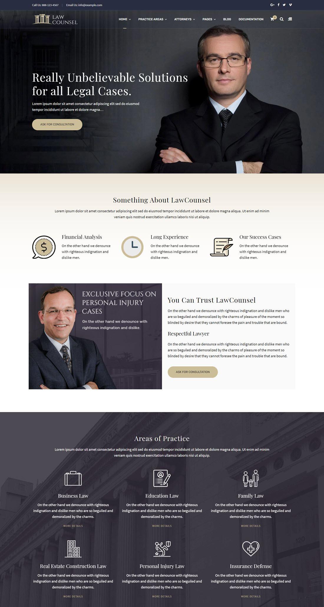 LawCounsel Lawyers WordPress Theme Screenshot