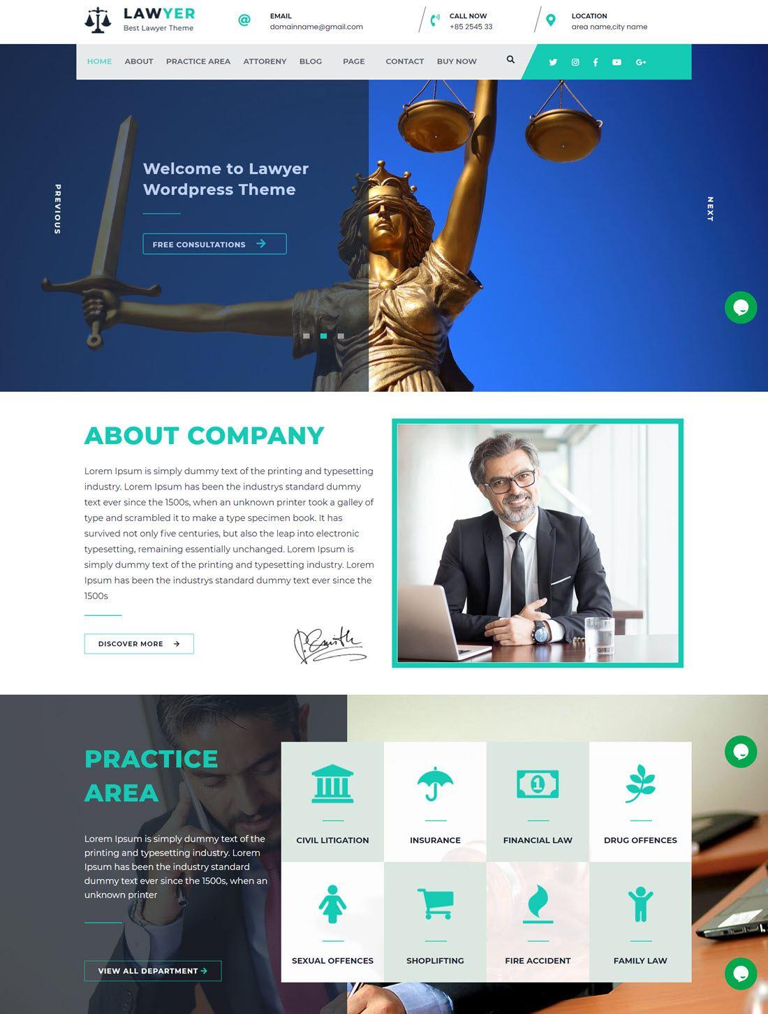 Lawyer Lite Theme For WordPress screenshot